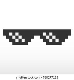 Pixel glasses vector icon.
