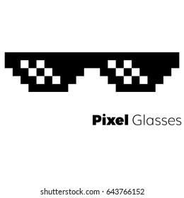 Pixel glasses  vector icon   eps 10
