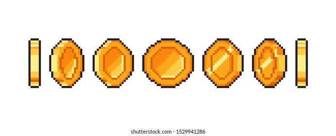 Pixel gold coin animation for 16 bit retro game. Vector golden pixelated coins. Illustration of money 8 bit.