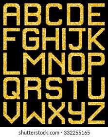Pixel Gold Glitter A-Z Letters. EPS8 Vector