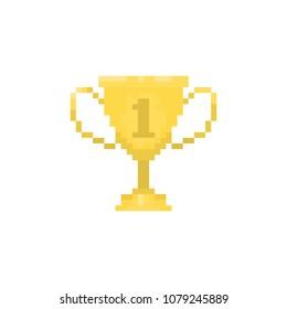 Pixel gold goblet for games and websites