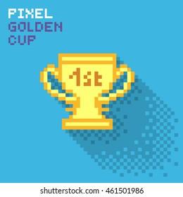 Pixel golden cup, flat pixelized illustration - stock image