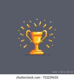 Pixel golden winner cup. Flat cartoon style. Vector illustration.