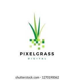 pixel grass root logo vector icon illustration