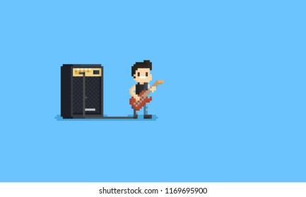 Pixel guitarist character with big amplifier.8bit.