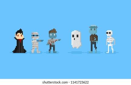 Pixel halloween character.8bit.