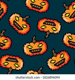 Pixel halloween pumpkins isolated on dark blue background. Cute festive pixelated seamless pattern. Vector flat graphic illustration. Texture.