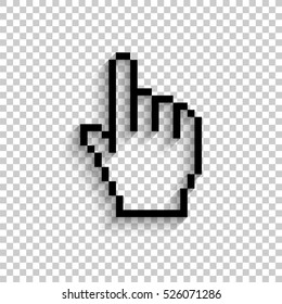 pixel hand - black vector  icon with shadow