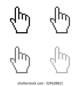 pixel hand  - black vector icon