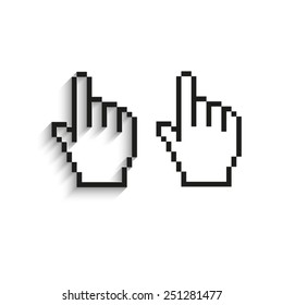 pixel hand - black vector icons