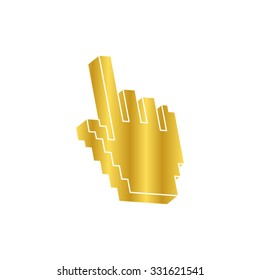 pixel hand -  gold vector icon
