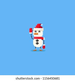 Pixel hand up snowman character.8bit.