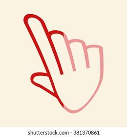 pixel hand - vector icon, flat design