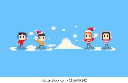 Pixel happy children playing the snow.8bit.christmas.
