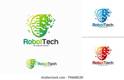Pixel Head logo concept vector, Robotic Technology Logo template designs vector illustration