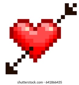 Pixel Heart With An Arrow. Vector Design.