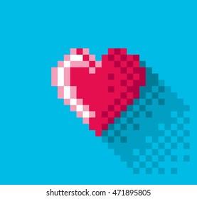 Pixel Heart in flat design, pixel art illustration. - Editable vector