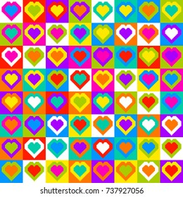 Pixel Heart Pattern Seamless Background. Randomly colored