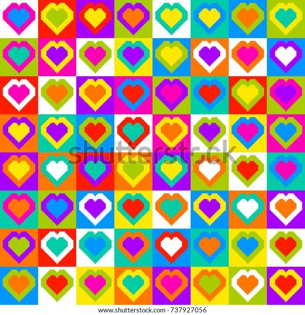Pixel Heart Pattern Seamless Background. Randomly colored