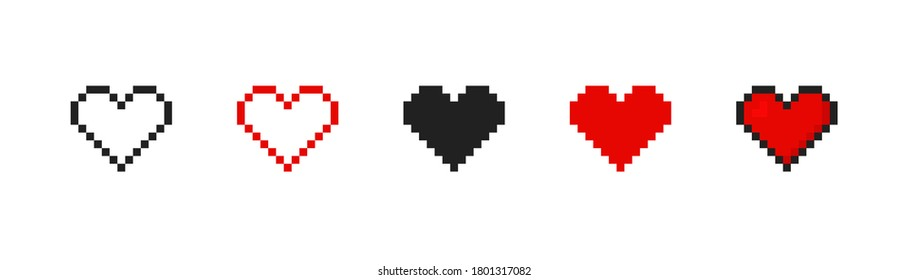 Pixel heart set ison in retro style. Vintage love symbol, 8 bit vector illustration for computer game. Web button