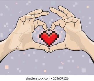 Pixel heart in two hands