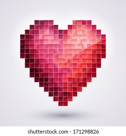 A pixel heart. Valentines Day background. Geometric style.
