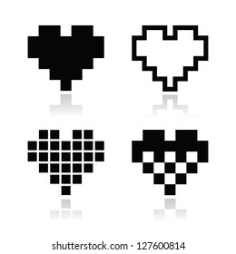 Pixel heart vector icons set - love, dating online concept
