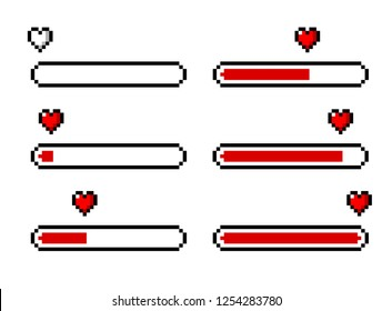 Pixel heart/love loading set - isolated vector illustration