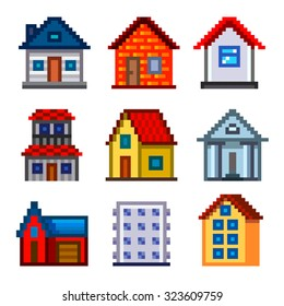 Pixel houses for games icons high detailed vector set