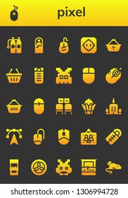 pixel icon set. 26 filled pixel icons.  Simple modern icons about  - Oxigen, Mouse, Sleeping bag, Dohyo, Shopping basket, Space invaders, Waiting room, Bayterek, Skyscrapper, Edit tools