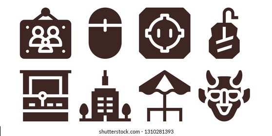 pixel icon set. 8 filled pixel icons.  Collection Of - Arcade machine, Picture frames, Skyscrapper, Mouse, Terrace, Dohyo, Hannya