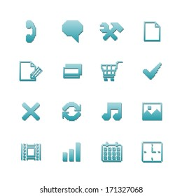 Pixel icons set for navigation of online purchase payment and preferences isolated vector illustration