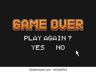 "Pixel inscription ""game over"". Message on the video game screen. Vector illustration."