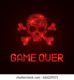 """Pixel inscription """"game over"""" with skull and crossbones. Message on the video game screen. Vector illustration."""