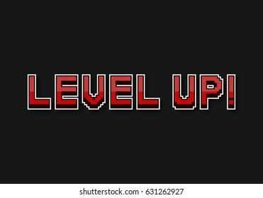 "Pixel inscription ""Level up"". Pixel vector illustration computer video game."