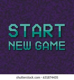"Pixel inscription ""Start new game"". Pixel vector illustration computer video game."