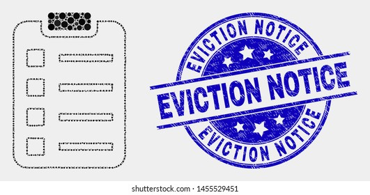 Pixel items pad mosaic icon and Eviction Notice stamp. Blue vector rounded grunge stamp with Eviction Notice phrase. Vector combination in flat style.