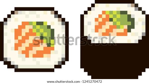 Image Vectorielle De Stock De Pixel Japanese Food Maki Sushi Salmon 1245270472