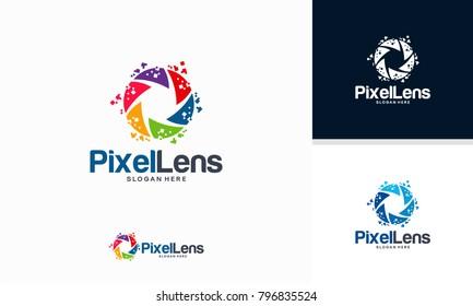 Pixel Lens logo designs concept vector, Lens Technology logo template
