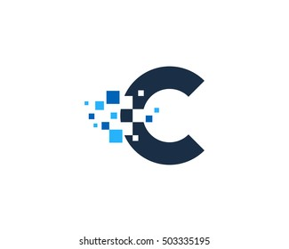 Pixel Letter C Logo Design Template