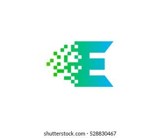 Pixel Letter Initial E Logo Design Template