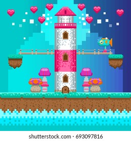 Pixel lighthouse. Vector illustration. Retro video game interface. Pixel art.