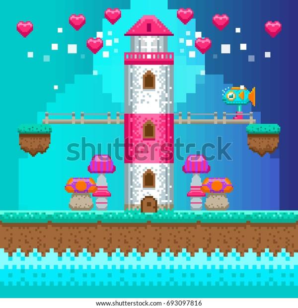 Pixel lighthouse. Vector illustration. Retro video game interface. Pixel art.