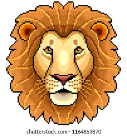 Pixel lion face animal portrait detailed isolated vector
