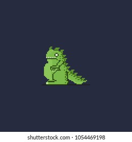 Pixel little kaiju.8bit art vector illustration.