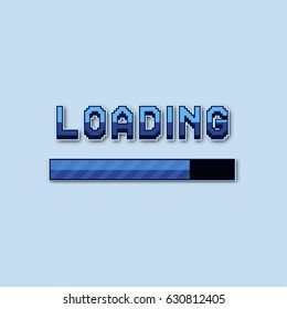 Pixel loading bar. Vector illustration for computer games, web sites.