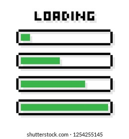 Pixel Loading bars set - isolated vector illustration