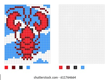 Pixel lobster cartoon in the coloring page with numbered squares, vector illustration
