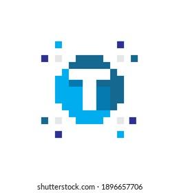 Pixel Logo, Technology Logo, T Initial Icon