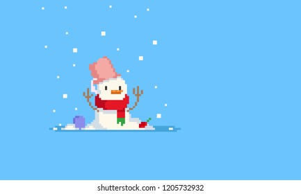 Pixel lonely snowman with snow drop.8bit.